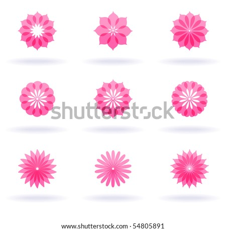 set of red flowers - stock vector