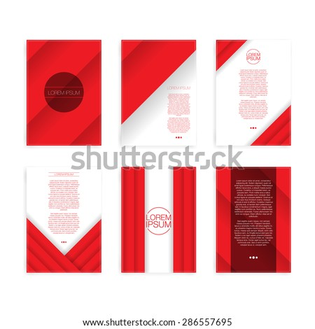 Set of Red Folder or Flyer Design | Editable EPS10 Vector Illustration - stock vector
