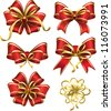Set of red gift bows - stock vector
