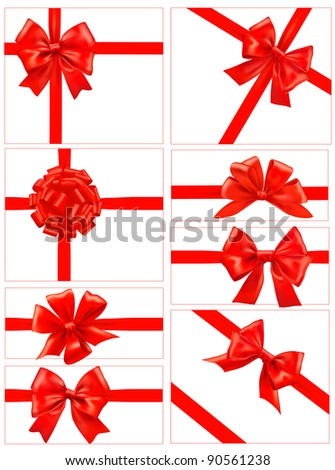 Set of red gift bows with ribbons. Vector. - stock vector