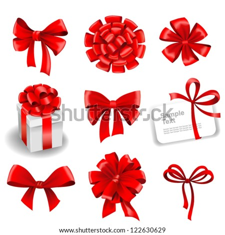 Set of red gift bows with ribbons. Vector illustration. - stock vector