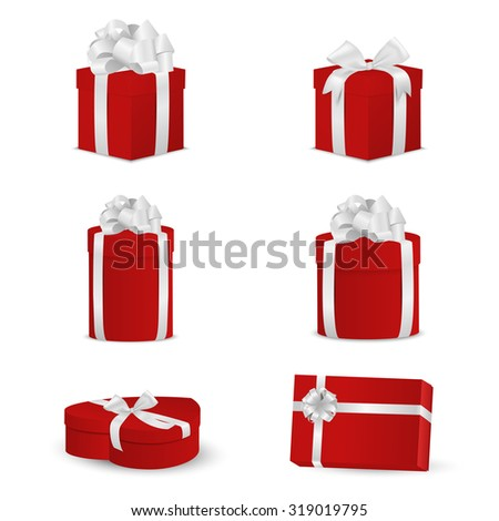 Set of red gift boxes with white bows and ribbons. Vector EPS10 illustration. - stock vector