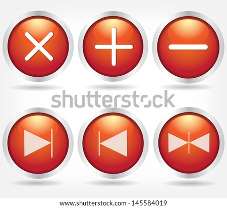 Set of red glass buttons with arrows and math signs. Vector Eps 10 - stock vector