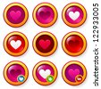 Set of red glass buttons with hearts, can be used as like symbols or for valentines design - stock vector