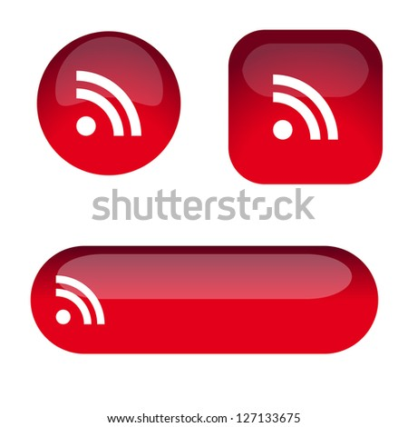 Set of red glass rss icon buttons - stock vector