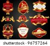 Set of red gold-framed  labels. Vector illustration. All elements separately. - stock vector