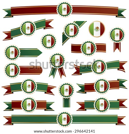 set of red green and gold ribbons with mexican flag badges, isolated on white - stock vector