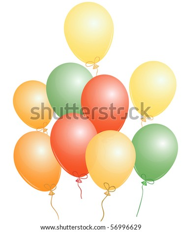 Set of red, green and yellow party balloons,  EPS10 compatible illustration