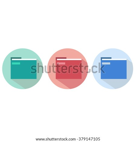 set of red green blue folder for papers and documents icon symbol of a computer flat - stock vector