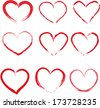 Set of red hand-drawn hearts vector - stock
