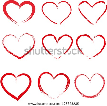 Set of red hand-drawn hearts vector