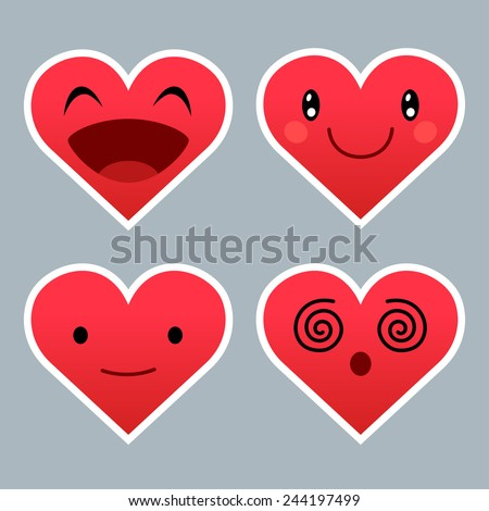 Set of red heart emoticons with different expressions