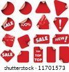 Set of red labels badges and stickers - stock vector