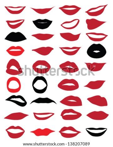 Set of red lips 3-vector - stock vector