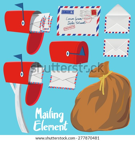 Set of Red Mail box,Letter envelope and Mail bag in vintage style vector illustration - stock vector