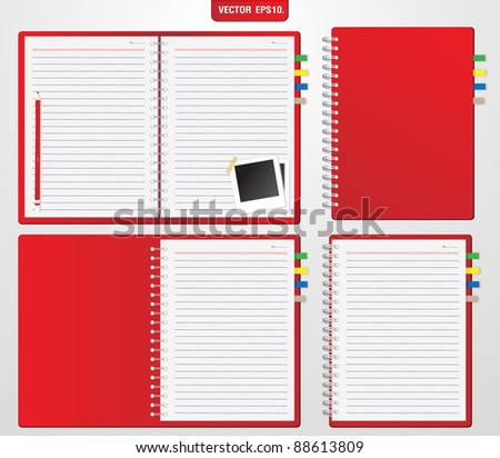 Set of Red notebook and pencil, instant photo. Vector template for design work - stock vector