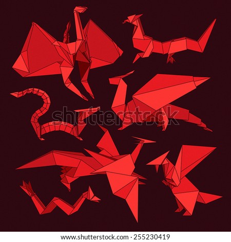 Set of red origami dragons. - stock vector