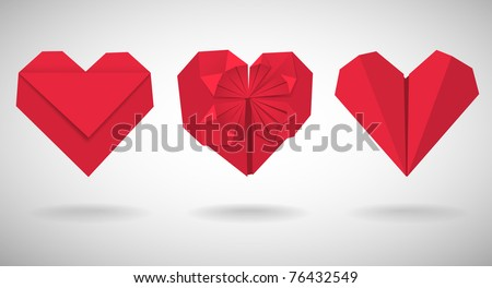 Set of red paper hearts, vector illustration - stock vector