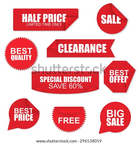 Set of red paper sale stickers on white background. Round, square, rectangular, twisted vector design template. - stock vector