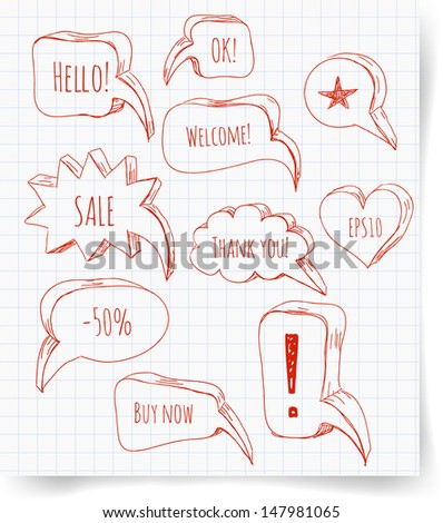 Set of red pen sketch speech bubbles for your design. Vector illustration