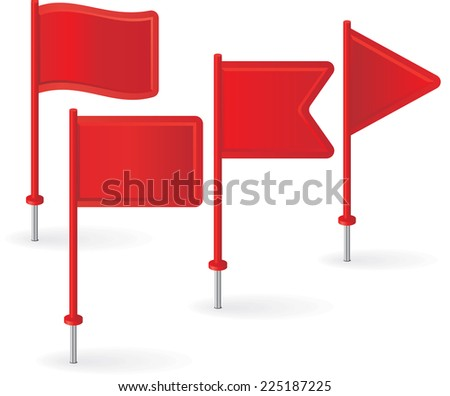 Set of red pin flags. Vector illustration. - stock vector
