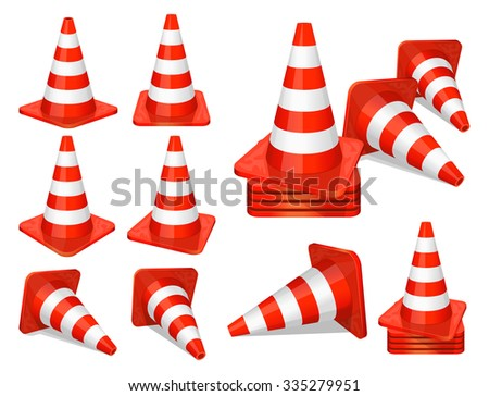 Set of red plastic traffic cones icon - stock vector