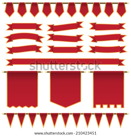 set of red ribbons, banners and bunting with yellow trim, isolated on white with transparencies - stock vector