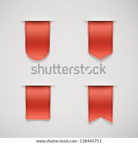 set of red ribbons different shapes eps10 - stock vector