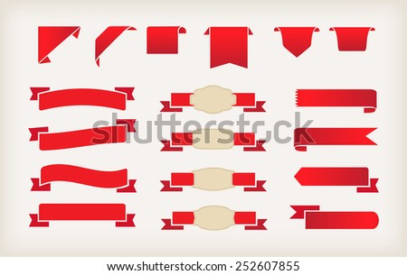 Set of red ribbons.Ribbon banner vector illustration. - stock vector