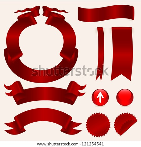 set of red ribbons, stickers and buttons - stock vector