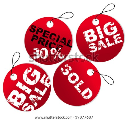 Set of red round paper tags for sale, discount