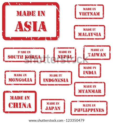Set of red rubber stamps of Made In symbols for Asia, including China, Vietnam, Malaysia, Nepal, Taiwan, South Korea, India, Japan, Myanmar, Philippines, Indonesia