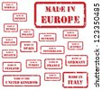 Set of red rubber stamps of Made In symbols for Europe and surrounds, including Italy, France, Russia, UK, Germany, Austria, Ireland, Romania - stock photo