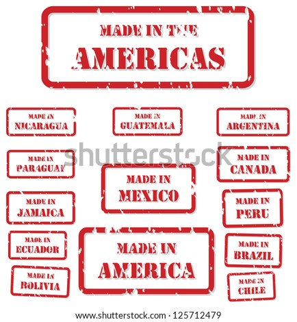 Set of red rubber stamps of Made In symbols for North, Central and South America, including America, Canada, Mexico, Chile, Peru, Bolivia, Ecuador, Brazil