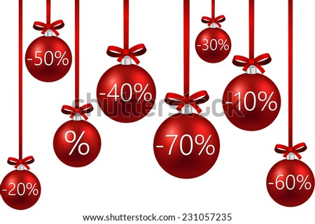 Set of red sale christmas balls background. Vector illustration.   - stock vector