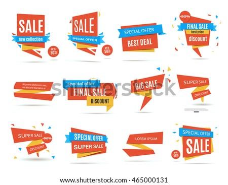Vector Stickers Price Tag Banner Label Stock Vector 461160265
