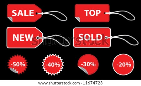 Set of red sale price tags. The text can be easily modified. See my portfolio for more stickers. - stock vector