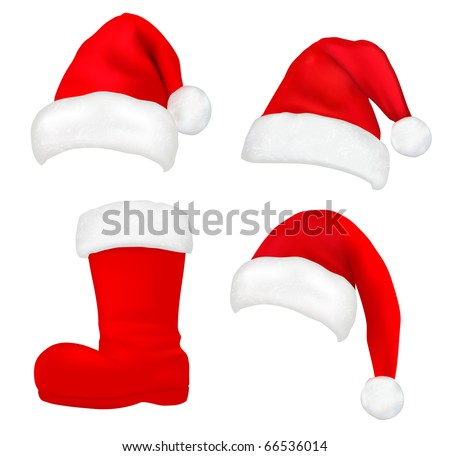 Set of  red santa hats and boot. Vector. - stock vector