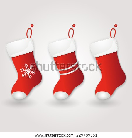 Set of Red Santa's boot. Christmas background. Vector illustration - stock vector