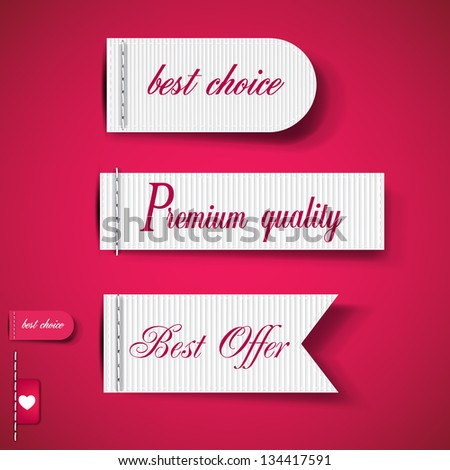 Set of Red Superior Quality and Satisfaction Guarantee Ribbons, Labels, Tags. Retro vintage style - stock vector