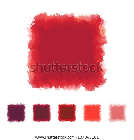 Set of red tone watercolor square shape design for brush, textbox, design element, VECTOR EPS10 - stock vector