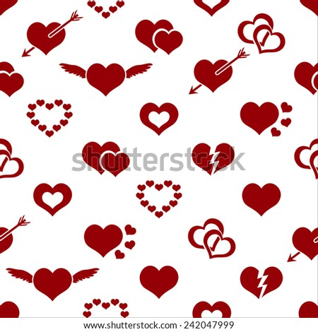 set of red valentine hearth love symbols seamless pattern eps10 - stock vector