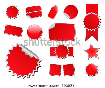 Set of Red Vector Price Tags - stock vector