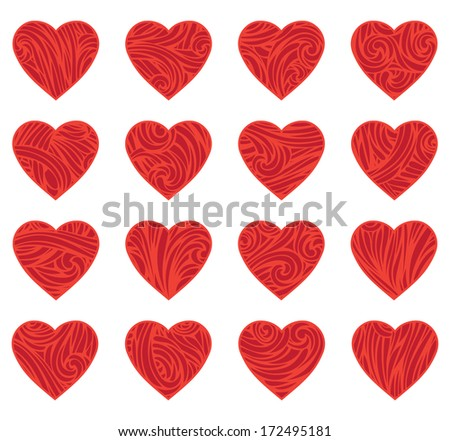 Set of red vintage hearts. Various vintage hearts isolated on white background. Vector elements for your romantic design. EPS 8. - stock vector