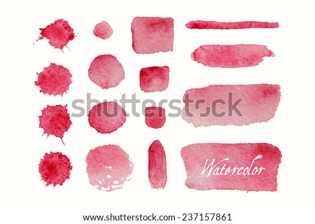 Set of red watercolor blobs and spots, isolated on white background. Blank watercolor colored shapes, web buttons for trendy design of your website. - stock vector