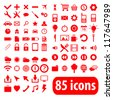 Set of red web and mobile icons - stock vector