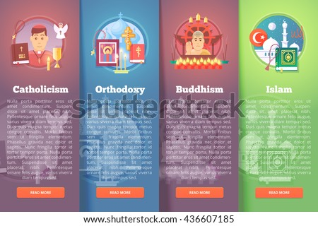 Set of religion icons. Religions and confessions illustration concepts. Flat modern style. - stock vector