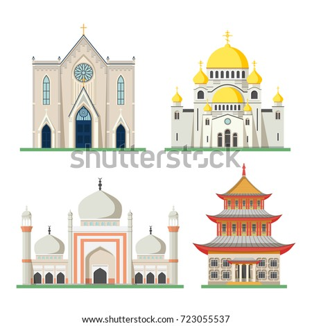 Set religious buildings like muslim mosque stock vector for Religious buildings in india
