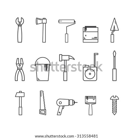Set of renovation icons. Web collection of house repair tools: screwdriver, hammer, trowel, roller, drill, saw, bucket, paint, pliers, brush, bolt. Graphic design in line style. - stock vector