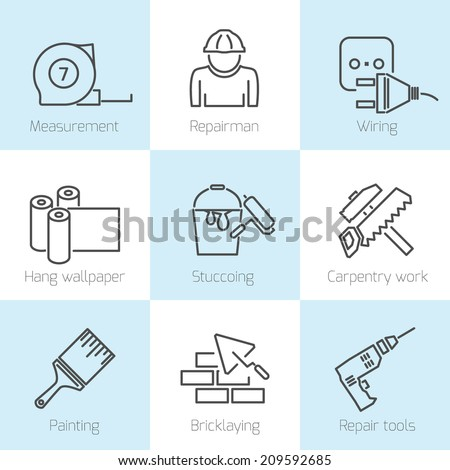 Set of repair home tools and house work improvement icons in line style - stock vector